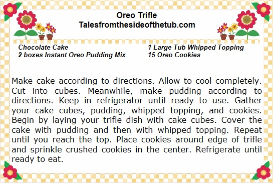 oreo trifle recipe card